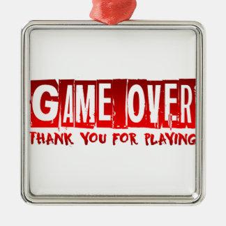 Game over Silver-Colored square decoration