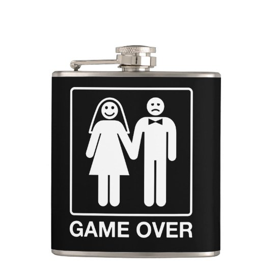 Game Over Wedding Flask Zazzle Co Uk