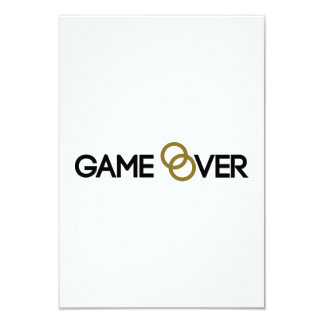 """Game over Wedding rings 3.5"""" X 5"""" Invitation Card"""