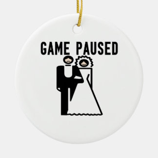 Game Paused Bride & Groom Double-Sided Ceramic Round Christmas Ornament