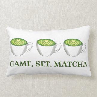 Game Set Match Matcha Green Tea Latte Foodie Lumbar Cushion