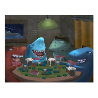 Game Sharks Playing Poker Postcard