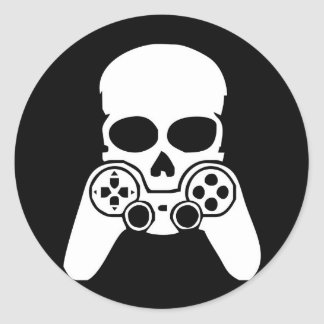 Game skull round sticker