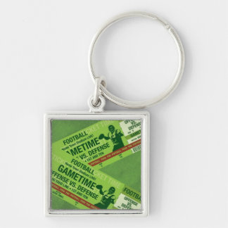 Game Time Football Tickets Silver-Colored Square Key Ring