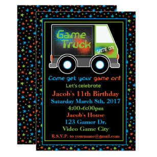 Game Truck Video Birthday Party Invitation