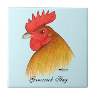 Gamecock Stag Single Comb Small Square Tile