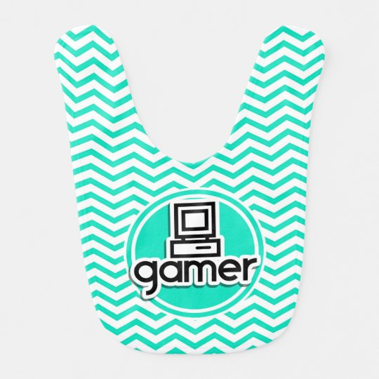 Gamer; Aqua Green Chevron Bib