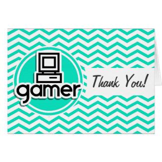 Gamer; Aqua Green Chevron Cards