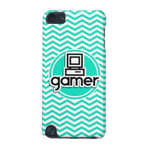 Gamer; Aqua Green Chevron iPod Touch 5G Covers