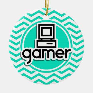 Gamer Aqua Green Chevron Christmas Ornaments