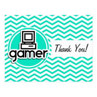 Gamer; Aqua Green Chevron Postcard