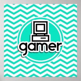 Gamer Aqua Green Chevron Posters