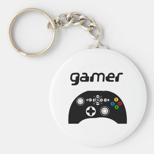 gamer basic round button key ring