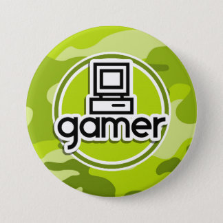 Gamer; bright green camo, camouflage 7.5 cm round badge
