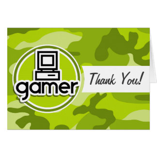 Gamer; bright green camo, camouflage card