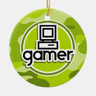 Gamer bright green camo camouflage christmas tree ornaments
