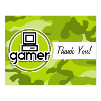 Gamer; bright green camo, camouflage postcards