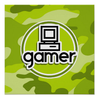 Gamer bright green camo camouflage poster