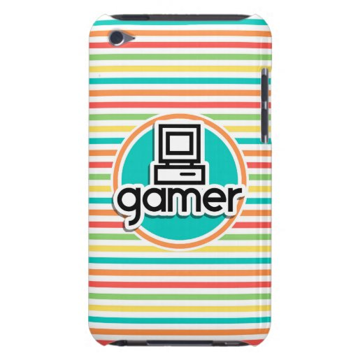 Gamer, Bright Rainbow Stripes iPod Touch Cases