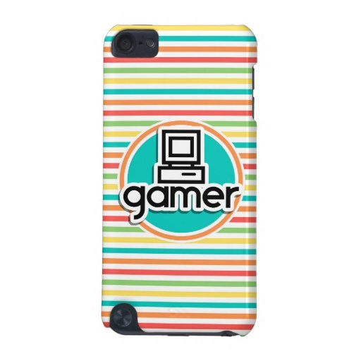 Gamer, Bright Rainbow Stripes iPod Touch (5th Generation) Cover