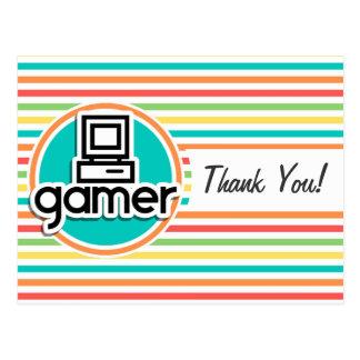 Gamer, Bright Rainbow Stripes Postcard