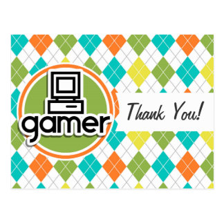 Gamer; Colorful Argyle Pattern Post Cards