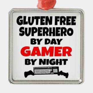Gamer Gluten Free Superhero Silver-Colored Square Decoration