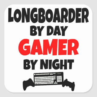 Gamer Longboarder Square Sticker
