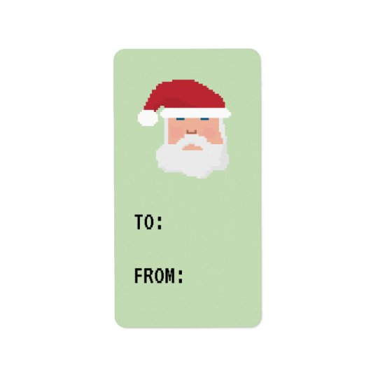 Gamer Pixel 8bit Santa Label Gift Tag