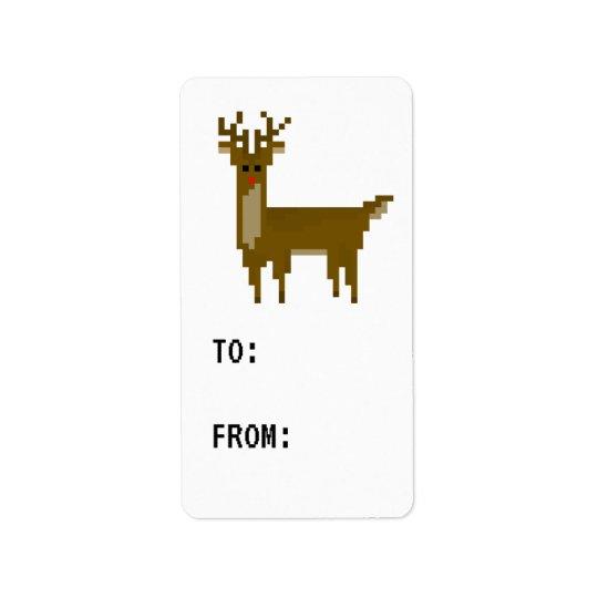 Gamer Pixel Rudolph Reindeer Label Gift Tag