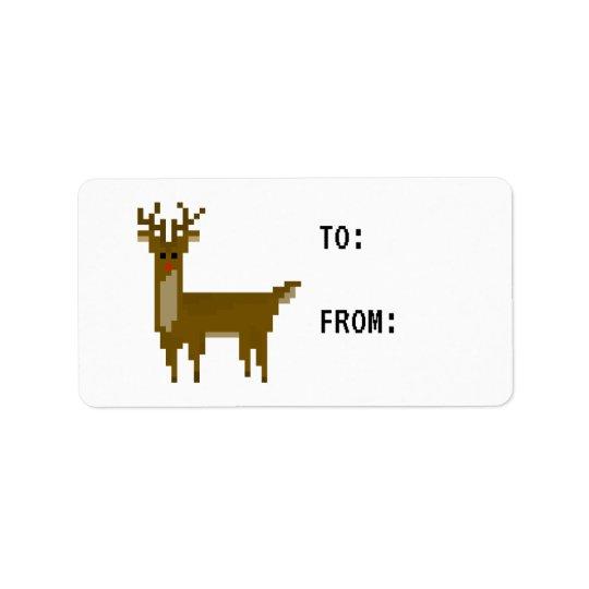 Gamer Pixel Rudolph Reindeer Sticker Gift Tag
