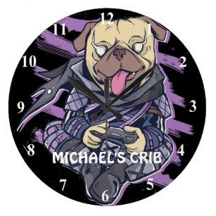 Gamer Pug Ninja Neon Look Teens Graphics Gift Cool Large Clock