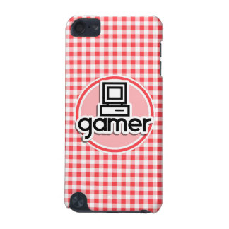 Gamer; Red and White Gingham iPod Touch (5th Generation) Cases
