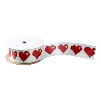 Gamer Retro 8bit Pixel Heart Ribbon Satin Ribbon