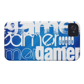 Gamer; Royal Blue Stripes iPhone 4 Cases