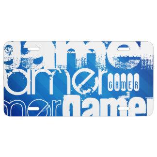 Gamer; Royal Blue Stripes License Plate