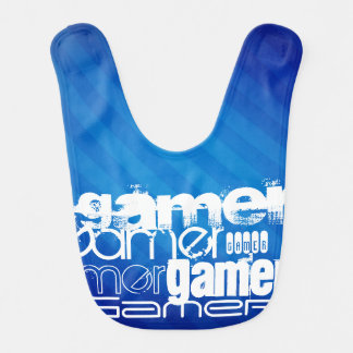 Gamer; Royal Blue Stripes Baby Bibs