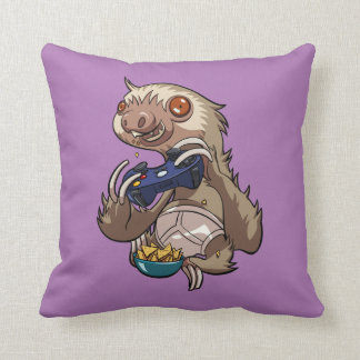 Gamer Sloth Eating Nachos in Underpants Cartoon Cushion