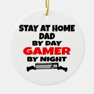 Gamer Stay at Home Dad Round Ceramic Decoration