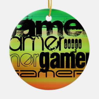 Gamer; Vibrant Green, Orange, & Yellow Double-Sided Ceramic Round Christmas Ornament
