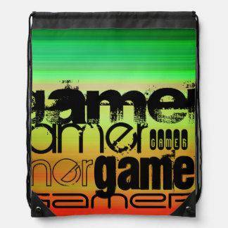 Gamer; Vibrant Green, Orange, & Yellow Drawstring Backpacks