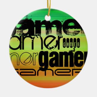 Gamer; Vibrant Green, Orange, & Yellow Round Ceramic Decoration