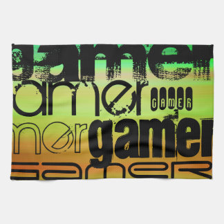 Gamer; Vibrant Green, Orange, & Yellow Hand Towels