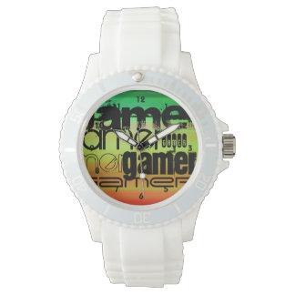 Gamer; Vibrant Green, Orange, & Yellow Wrist Watches