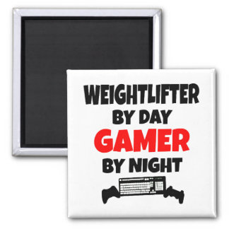 Gamer Weightlifter Square Magnet