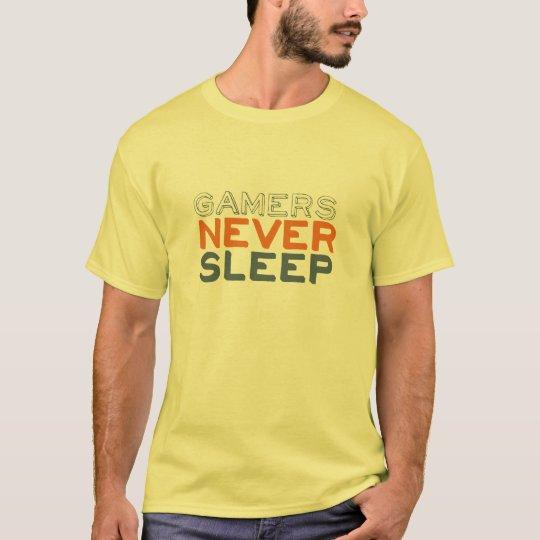 Gamers Never Sleep Funny Yellow T-shirt