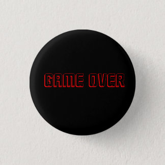 gaming button- game over 3 cm round badge