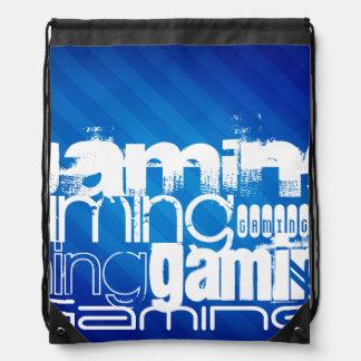 Gaming; Royal Blue Stripes Drawstring Bag
