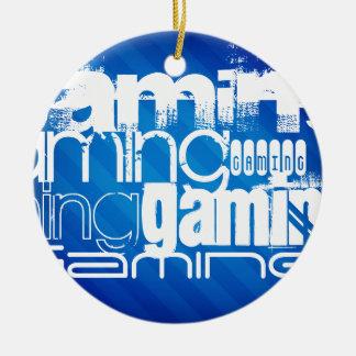 Gaming; Royal Blue Stripes Round Ceramic Decoration