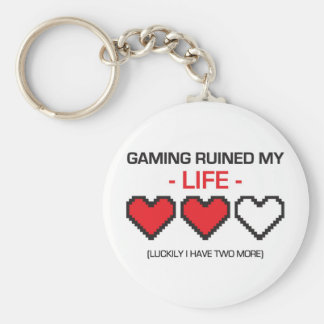 GAMING RUINED MY LIFE! BASIC ROUND BUTTON KEY RING